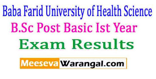 Baba Farid University of Health Science B.Sc Post Basic Ist Year June 2016 Exam Results