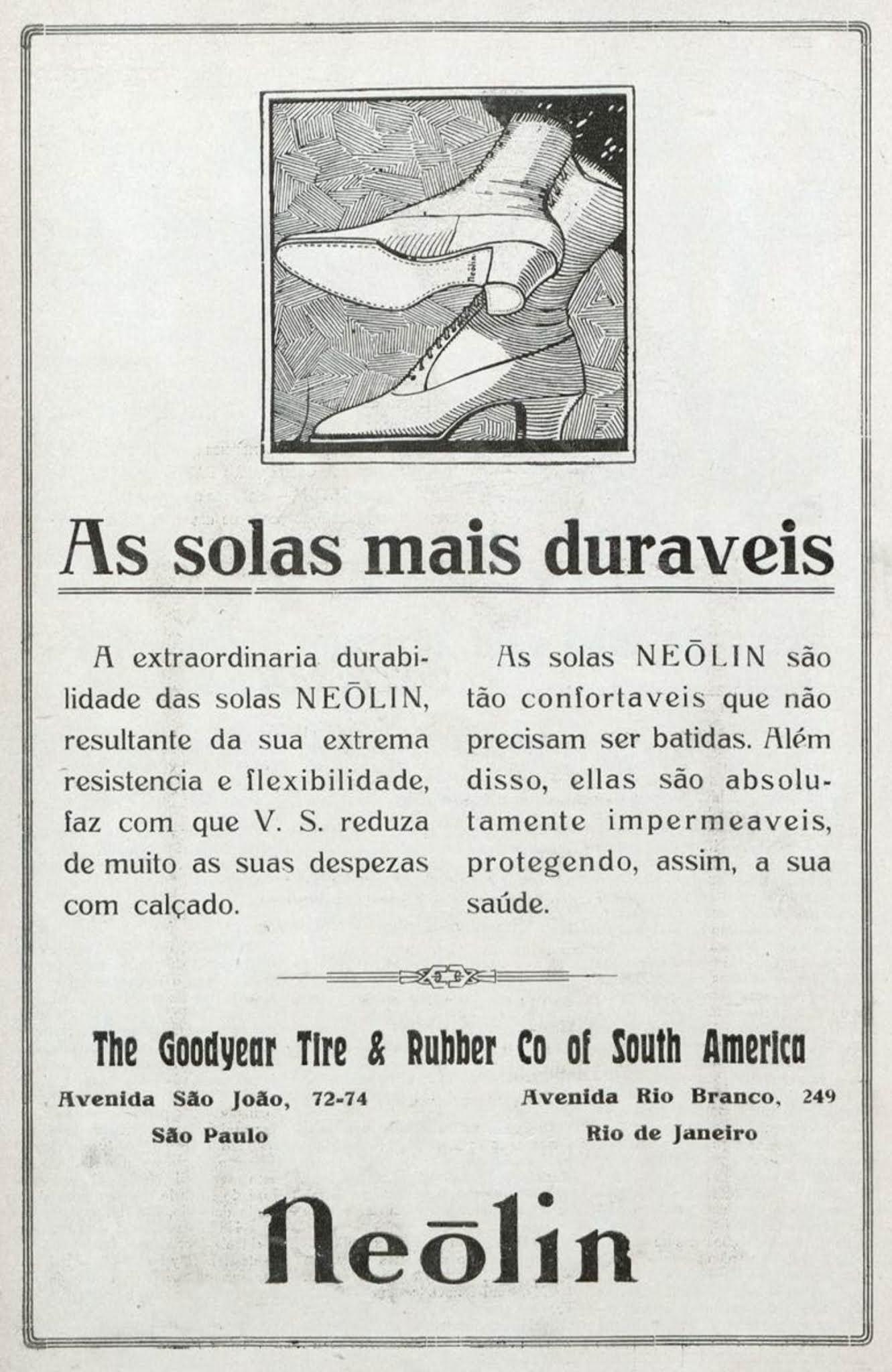 Anúncio de 1919 promovia a solas de sapato Neolin da Goodyear