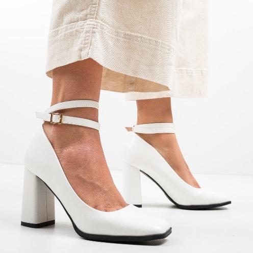 Pantofi de zi comozi albi cu toc gros