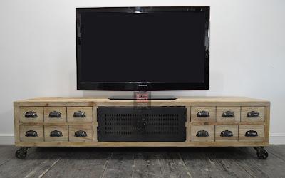 Banc TV industriel bois et métal