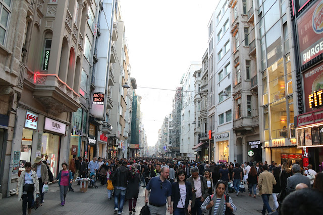Popular shopping and restaurant destination for the locals and tourists along the busy Istiklal Street in Istanbul, Turkey