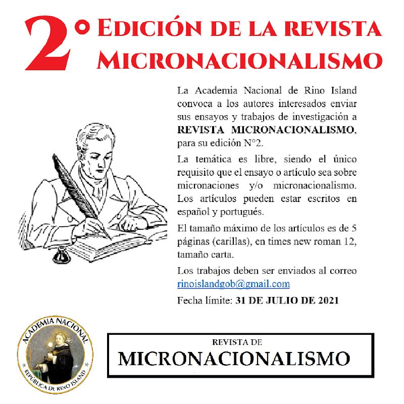 Convocatoria 2021 de Revista Micronacionalismo