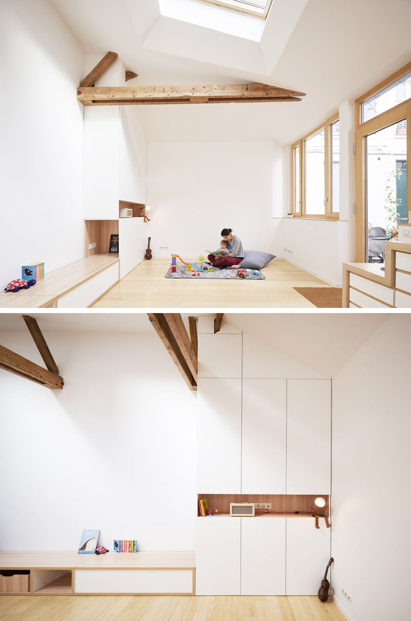 white-and-wood-living-room-with-cabinets-and-shelving-120318-1246-05 This 1970s Studio Was Transformed Into A Bright And Open Small Home (Before & After) Interior