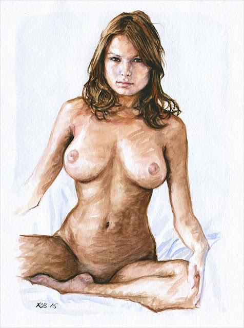 René Bui - Etude de nu à l'aquarelle #160184 -