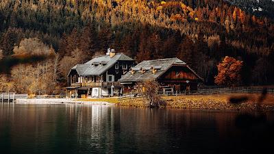 Autumn, Landscape, House, Lake, Forest