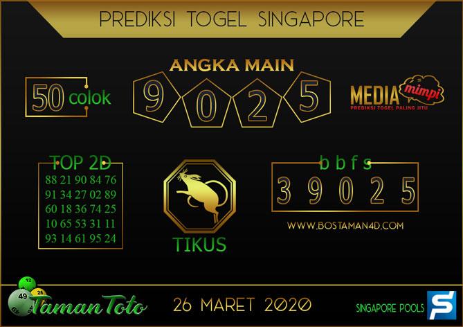 Prediksi Togel SINGAPORE TAMAN TOTO 26 MARET 2020