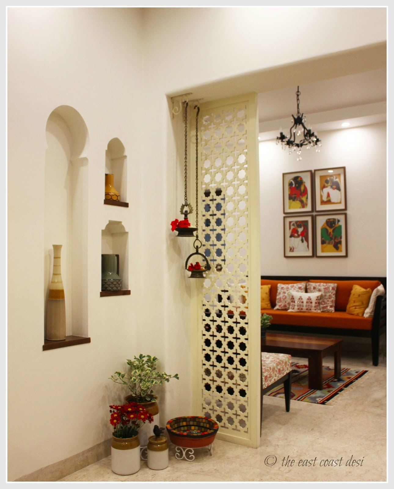 The east coast desi keeping it elegantly eclectic home tour for Living room partition designs in indian
