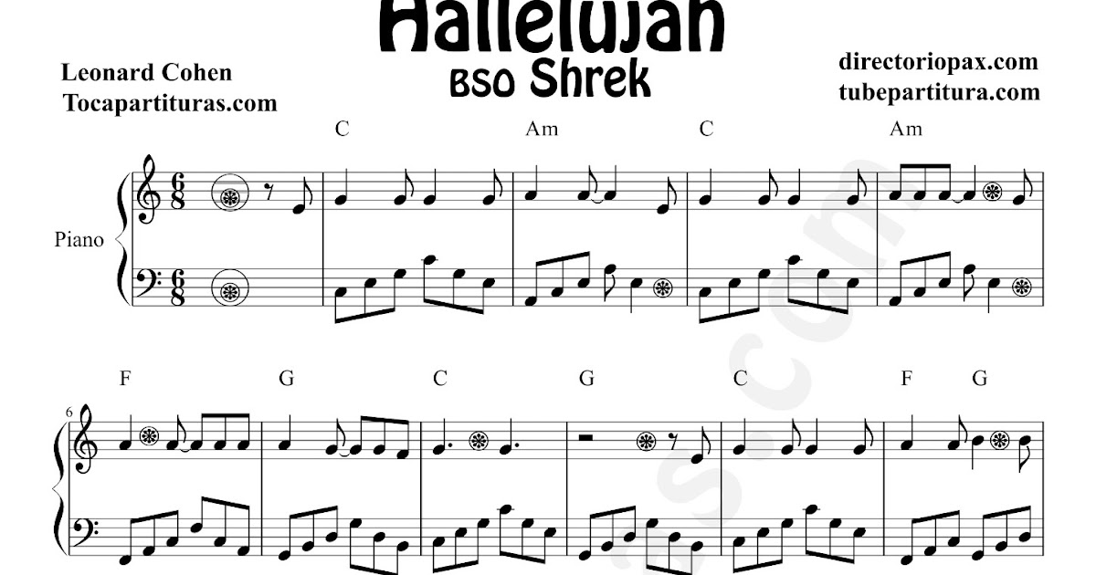 All Music Chords Hallelujah Sheet Music Shrek Hallelujah Sheet