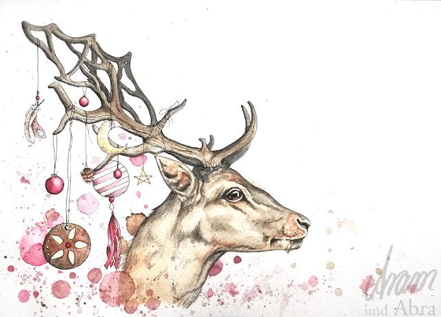 Weihnachtshirsch, Illustration für Weihnachtskarte und digitale Weiterverarbeitung, Aquarell, DIN A4