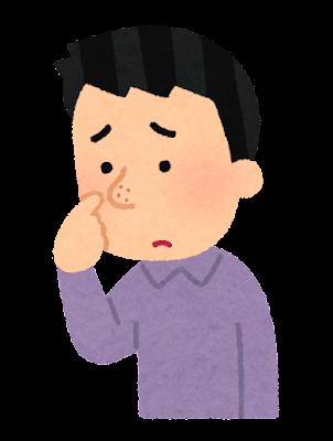 鼻の毛穴を気にする人のイラスト(男性)