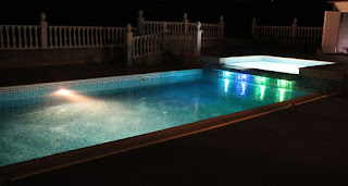 The pool all lit up