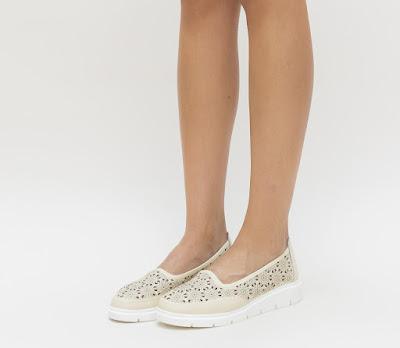 pantofi sport dama piele naturala bej de vara ieftini