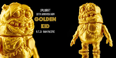 """Golden Kid"" Cadaver Kid 10th Anniversary Edition Vinyl Figure by Splurrt x Lulubell Toy Bodega"