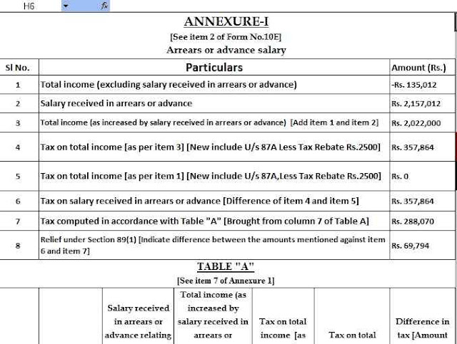 Income tax Arrears Relief Calculator U/s 89(1)