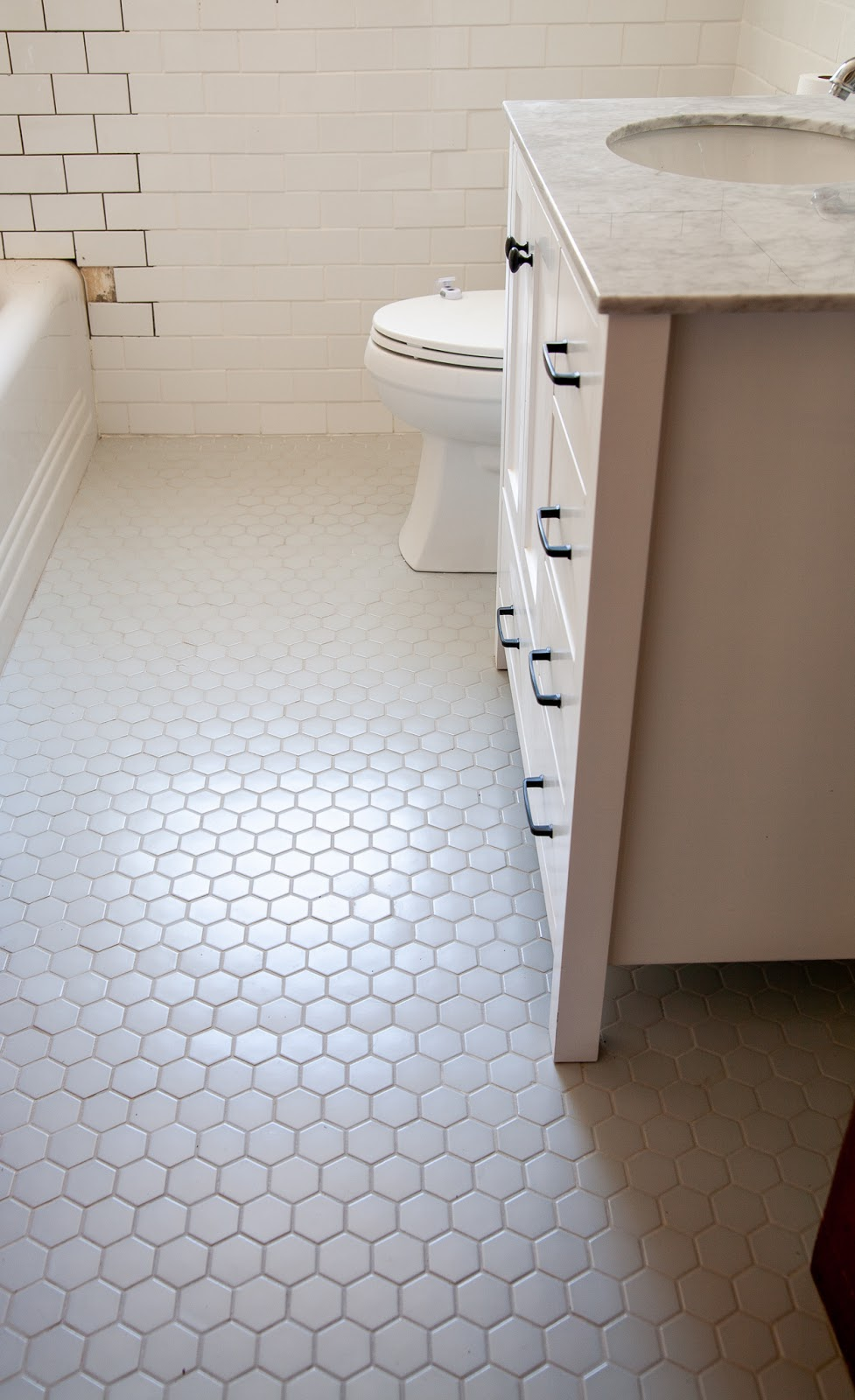 How To Lay Mosaic Tile Flooring Week 2 One Room Challenge Bathroom Reno With Hexagon Floor Create Enjoy