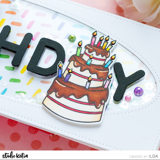 Happy Birthday Slimline Shaker Card, Studio Katia, Slimline Card, Birthday, Shaker Card, Card Making, Stamping, Die Cutting, handmade card, ilovedoingallthingscrafty, Stamps, how to, Rainbow, Mini Birthday Cake, Chunky Alphabet,