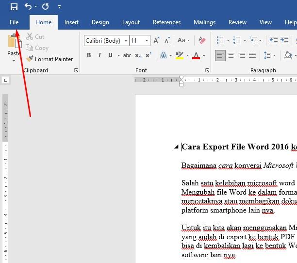 Cara Export File Microsoft Word ke PDF Dengan Microsoft Word 2016