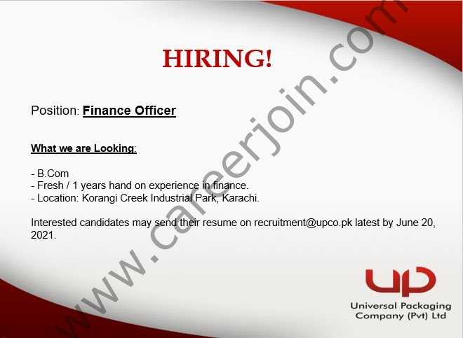 Universal Packaging Company Pvt Ltd Jobs 2021 For Finance Officer - Apply at recruitment@upco.pk