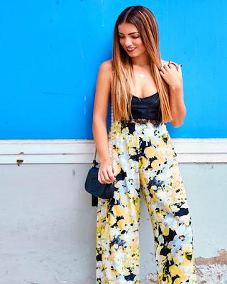 pantalón palazzo de flores