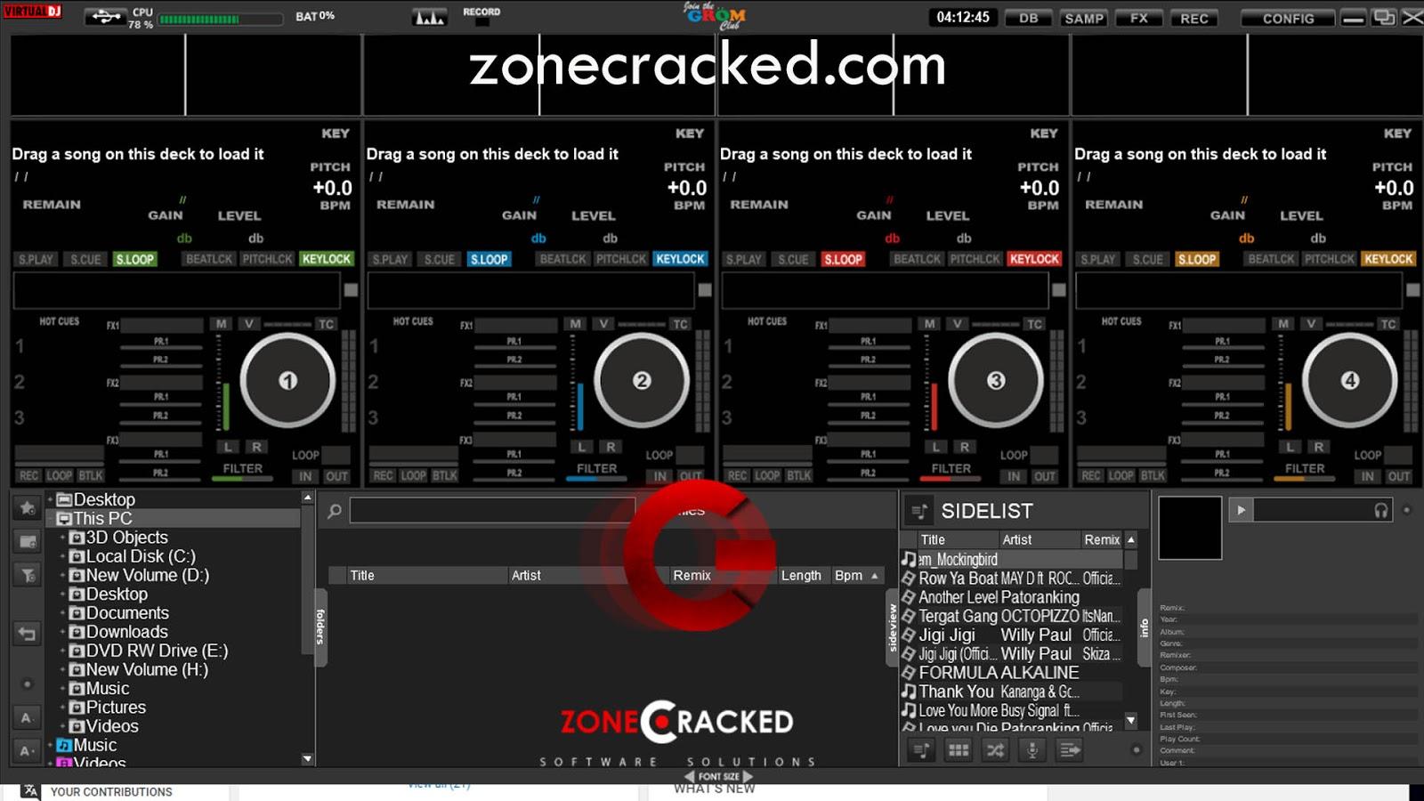 Grom_4_Decks Virtual Dj Skin   Zone Cracked - Virtual DJ