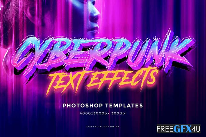 Cyberpunk 80s PSD Text Effects 2020