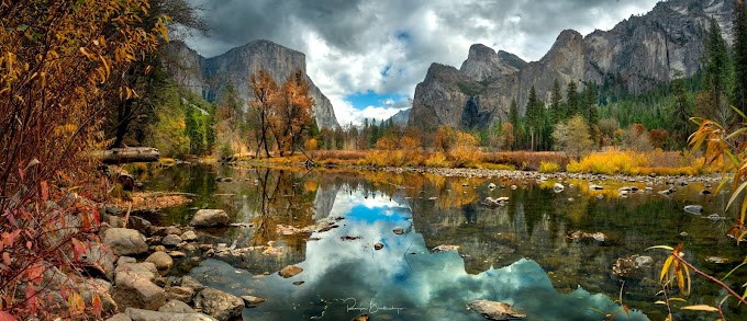 Stunning Yosemite National Park - El Capitan and Cathedral Rocks with reflections on the Merced river