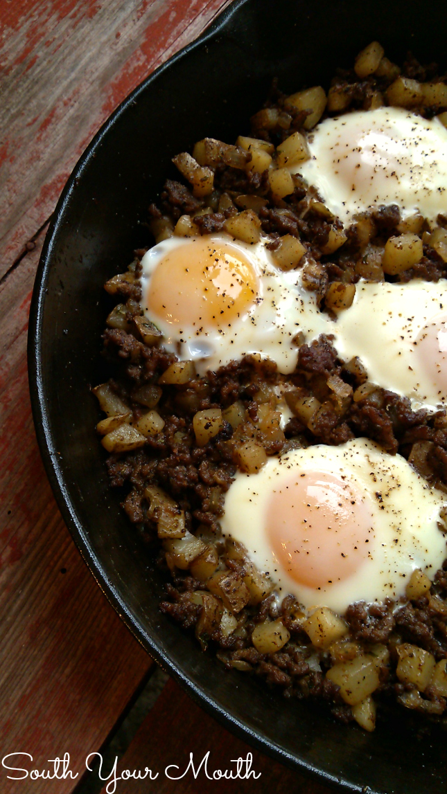 Hash & Eggs! An easy, rustic one-pan recipe for breakfast, brunch or dinner made with ground beef, onions, diced potatoes and eggs.