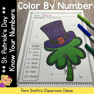 St. Patrick's Day Color By Number Know Your Numbers 1 - 15