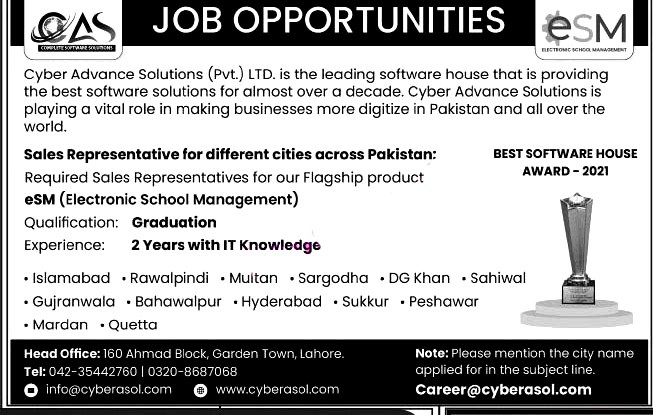 Cyber Advance Solutions  Latest Jobs for Sales Representatives 2021