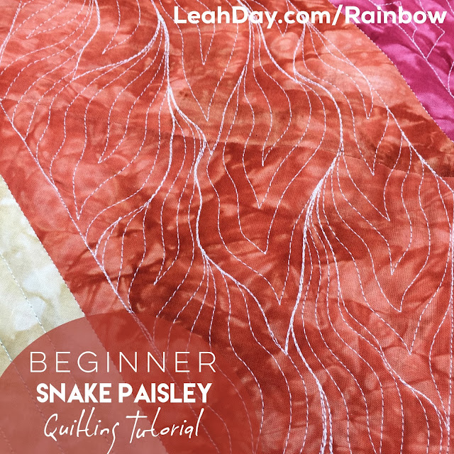 Learn how to quilt Snake Paisley, an easy beginner level machine quilting design.