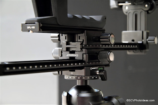Sunwayfoto YLS-G3 assembly B with extra Dual Subtend clamp and Sigma lens/camera close up