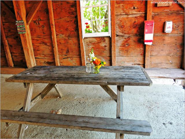 Heladería de la Applecrest Farm: Mesas en el Granero