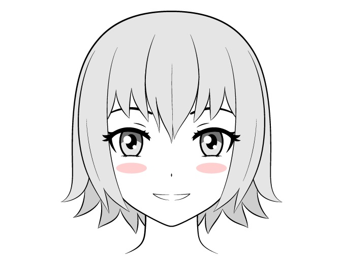 Gadis anime dengan blush on kecil yang solid