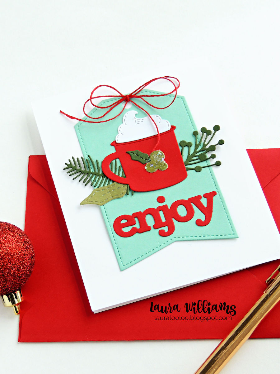 Click here to see a handmade holiday card using die cutting only, no stamps! These dies from Impression Obsession will help you make festive Christmas cards and winter paper crafts with festive cheer! Stop by to see lots of inspiration and ideas for card making and paper crafting projects. #papercrafting #cardmaking #diecutting