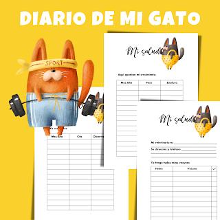 diario, gato, gatos, mascotas, imprimibles, para imprimir, pdf , a4