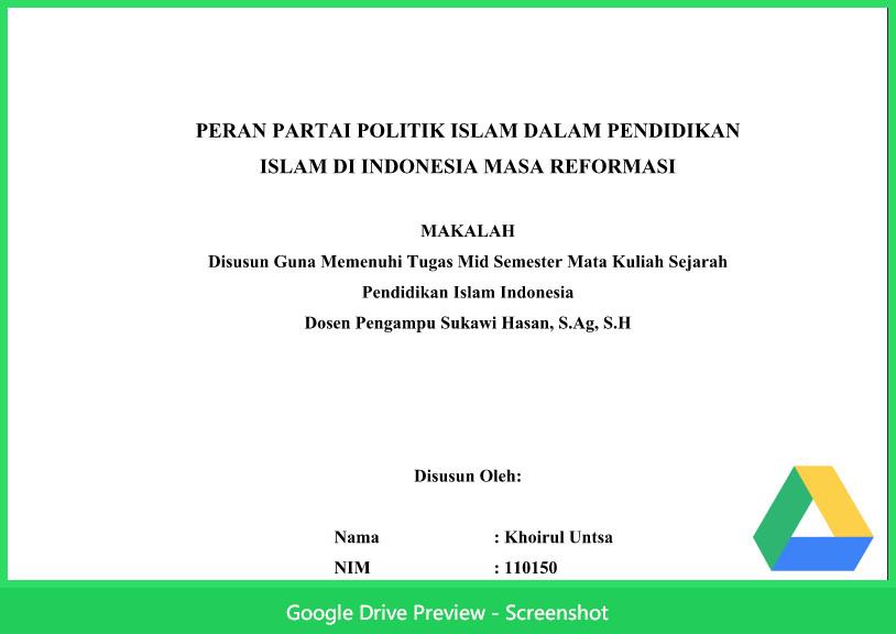 Contoh Makalah Agama Tentang Peran Partai Politik Islam Dalam Pendidikan Islam