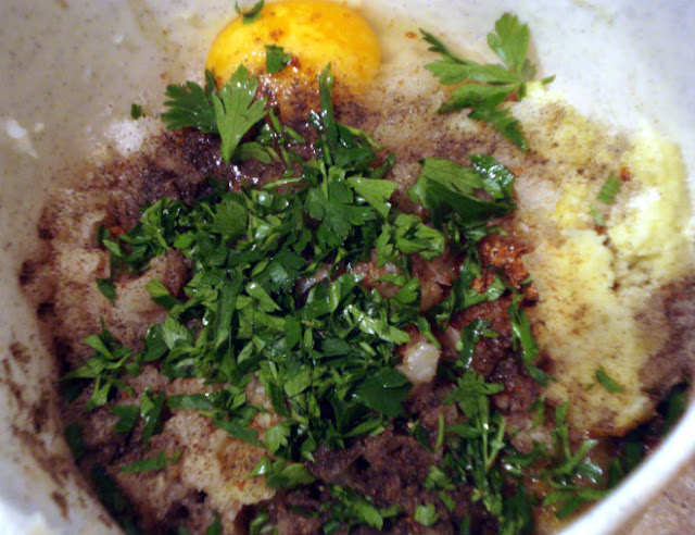 potato puree mixed with onion, garlic, egg, yolk, red paprika
