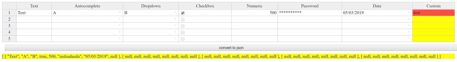 Angular Third Party : create an editable table using Handsontable