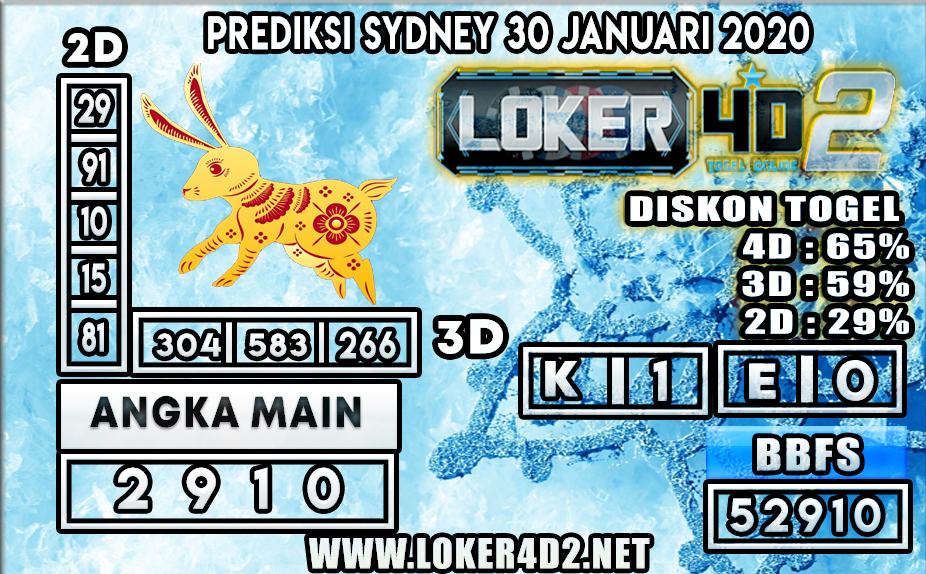 PREDIKSI TOGEL SYDNEY LOKER4D2 30 JANUARI 2020
