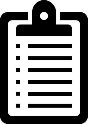 Descrição da imagem #PraCegoVer: Uma figura clipart de uma lista com tópicos pregada numa prancha. Fim da descrição.