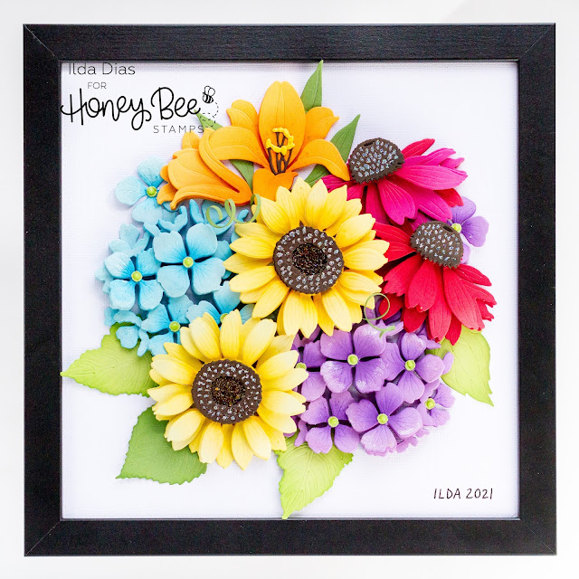 Framed, Lovely Layers, Floral Bouquet, Honey Bee Stamps, shadow box, Die cut flowers, Sunflower, hydrangea,Easter Lily,Coneflower,Die Cutting, handmade, Gift idea, ilovedoingallthingscrafty, how to,
