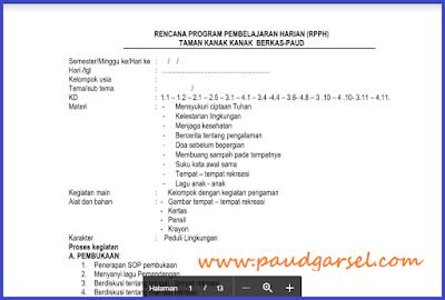 RPPH PAUD Usia 4-5 Tahun Semester 2 Kurikulum 2013 Edisi Revisi 2018