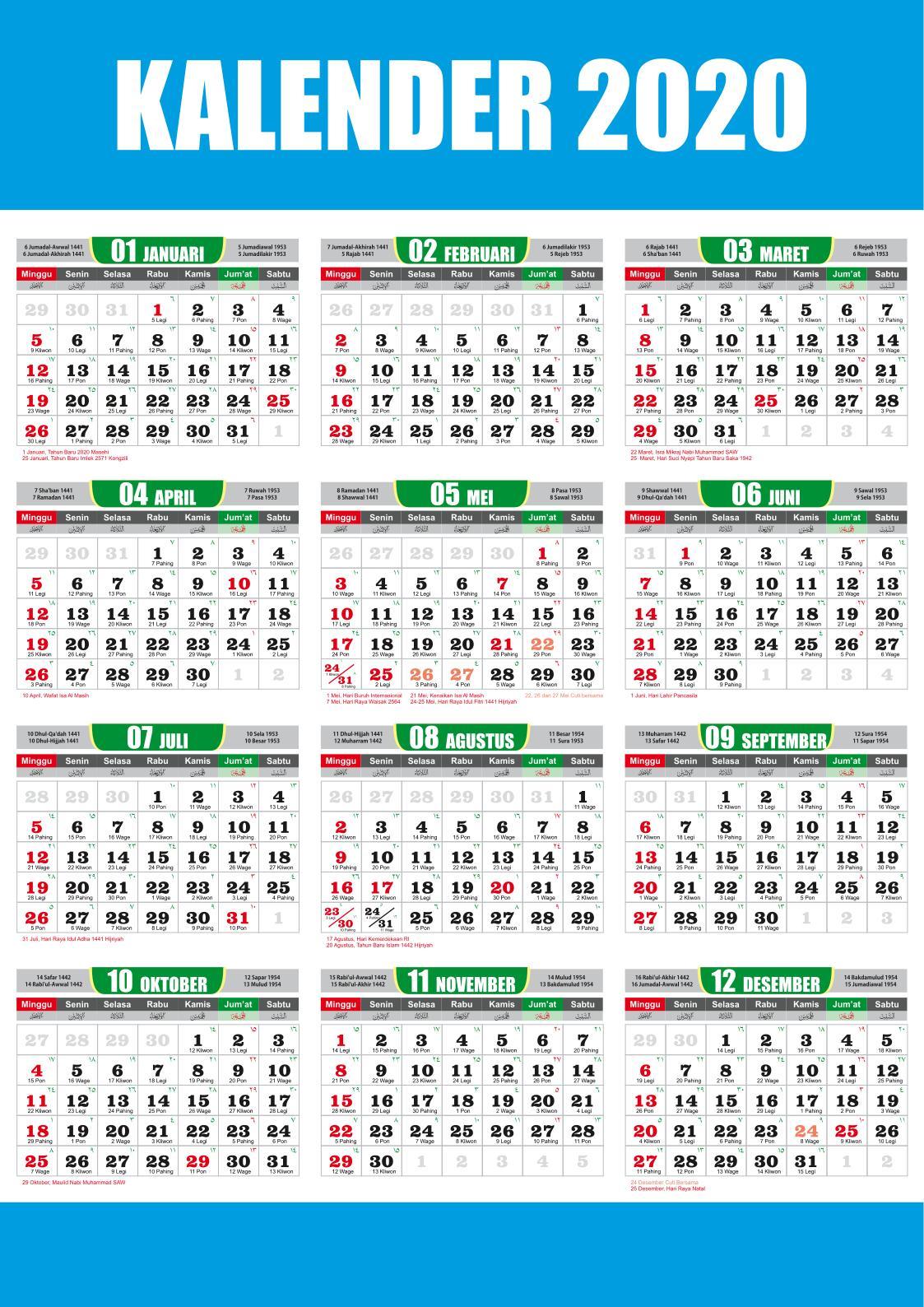 Download kalender 2020 cdr masehi hijriyah jawa Lengkap