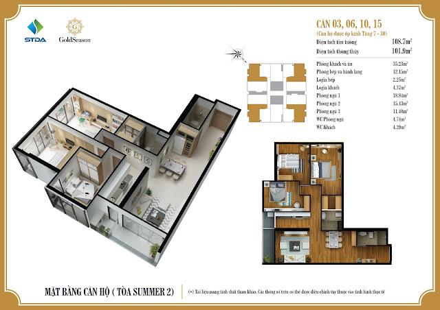 Mặt bằng căn hộ 03, 06, 10, 15 chung cư GoldSeason Tòa Summer 2