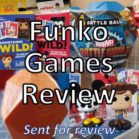 Funko Games Review - Something Wild! and Battle Ball! Collage showing aspects of each