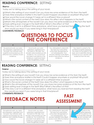 Tips for reader's workshop conferences in middle and high school English classes