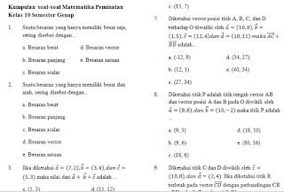 Contoh Soal PAT Matematika Peminatan Kelas 10 dan pembahasannya