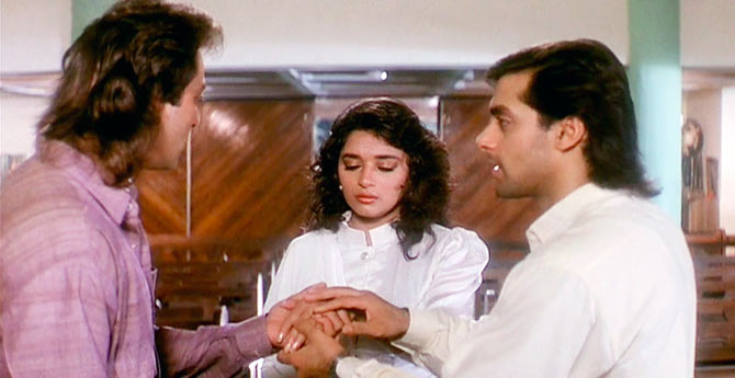 Top 10 movies of Madhuri Dixit - Madhuri Dixit, Sanjay Dutt and Salman Khan in Saajan
