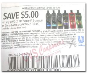 tresemme coupon save $5.00 off two