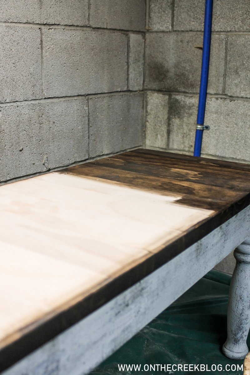 Painting our upcycled DIY dining bench using crackle glaze!   On The Creek Blog